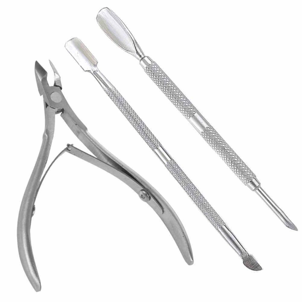 3 stks/set Rvs Cuticle Schaar Pusher Lepel Dead Skin Remover Cutter Clipper Nipper Trimmer Manicure Nail Art 669