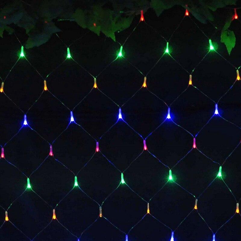 1.5mx1.5m 96LED 110V 220V szuper fényes hálós hálós fényes karácsonyi karácsonyi fények újévi kert esküvői ünnep világítás