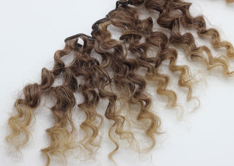 15cm * 100cm kerinting coklat falxen rambut palsu rambut hitam emas - Anak patung dan aksesori - Foto 2