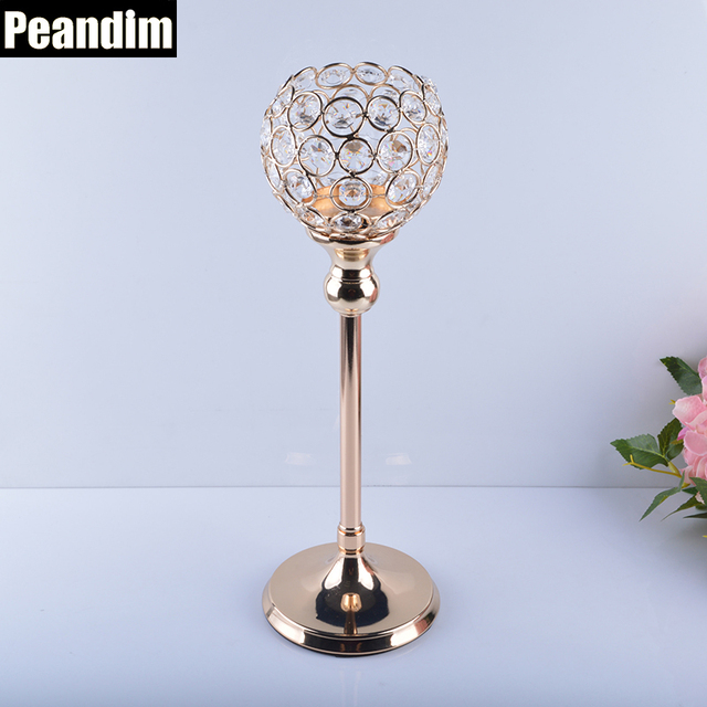 PEANDIM Home Decor 35cm Votice Candle Holder Wedding Crystal Candelabra  Gold Candle Lantern Table Centerpieces Crystal