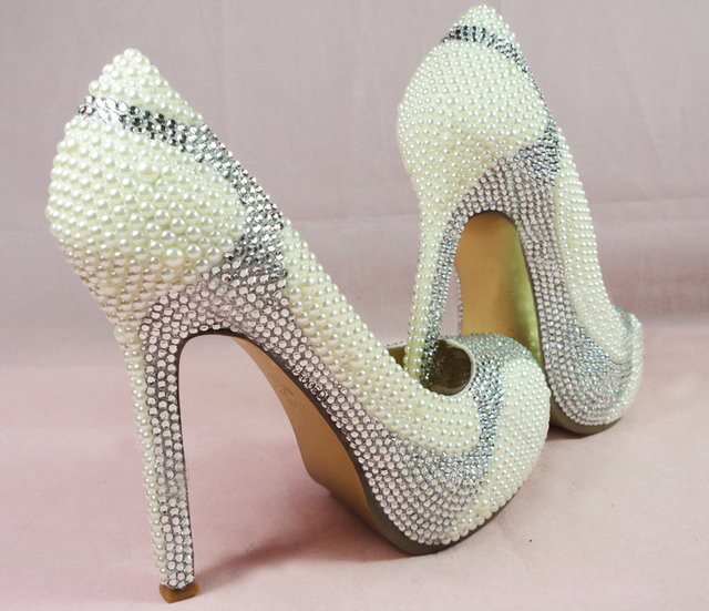 New Handmade Ivory Pearls And Silver Crystals High Heel Glitter Wedding Shoes With Matching Clutch Bag