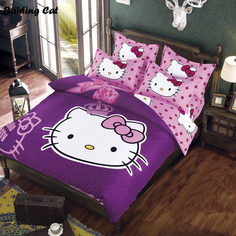 Cartoon Beddengoed Set 3d Hello Kitty Pikachu Stitch Doraemon Bed Kleding Linnen Dekbedovertrek Laken Kussenslopen Gratis Verzending