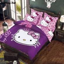 Cartoon Bedding Set 3d Hello Kitty Pikachu Stitch Doraemon Bed Clothes Linen Duvet Cover Set Bed Sheet Pillowcases Free Shipping