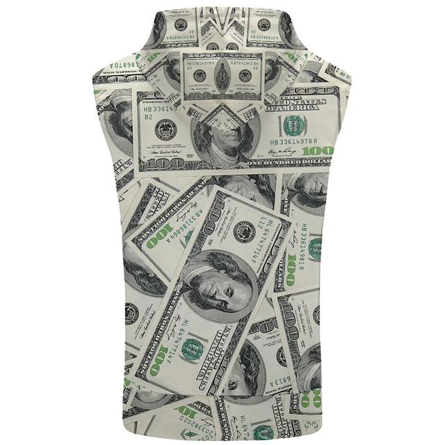 KYKU Dollars Sleeveless Hoodie Money Bodybuilding Funny Vest Hip Hop Stringer Coat Fitness Mens Clothing 2018 Hip Hop Rock