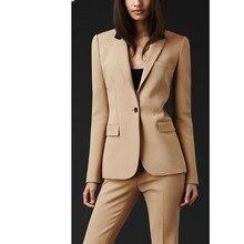 Calças moda terno Custom made Mulheres Formal Do Escritório Terno Senhoras Terno de Negócio Profissional Bege Roupas Desgaste Do Trabalho personalizado