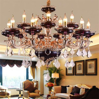 European Zinc Alloy Retro Crystal Chandelier Villa Duplex Building Living Room Dining Room Bedroom American Crystal