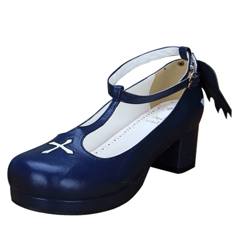 Black Blue White Colors Plus Size 34~44 Princess Sweet Lolita Shoes Gothic Punk T-Strap Thick Heel Pumps Wing Shoes For Girls eur 34 44 angelic imprint zapatos mujer lolita cosplay punk pumps high boots princess sweet girl s pumps black women s shoes