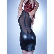 New Summer Black Mesh Sleeveless Min Short Clubwear Dresses Sexy Hot Night Vinyl Leather Sheath Bodycon Party Vestido