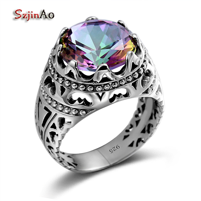 Szjinao Sale Vintage Jewelry Round Topaz Cubot Rainbow 925 Sterling Silver Cryst