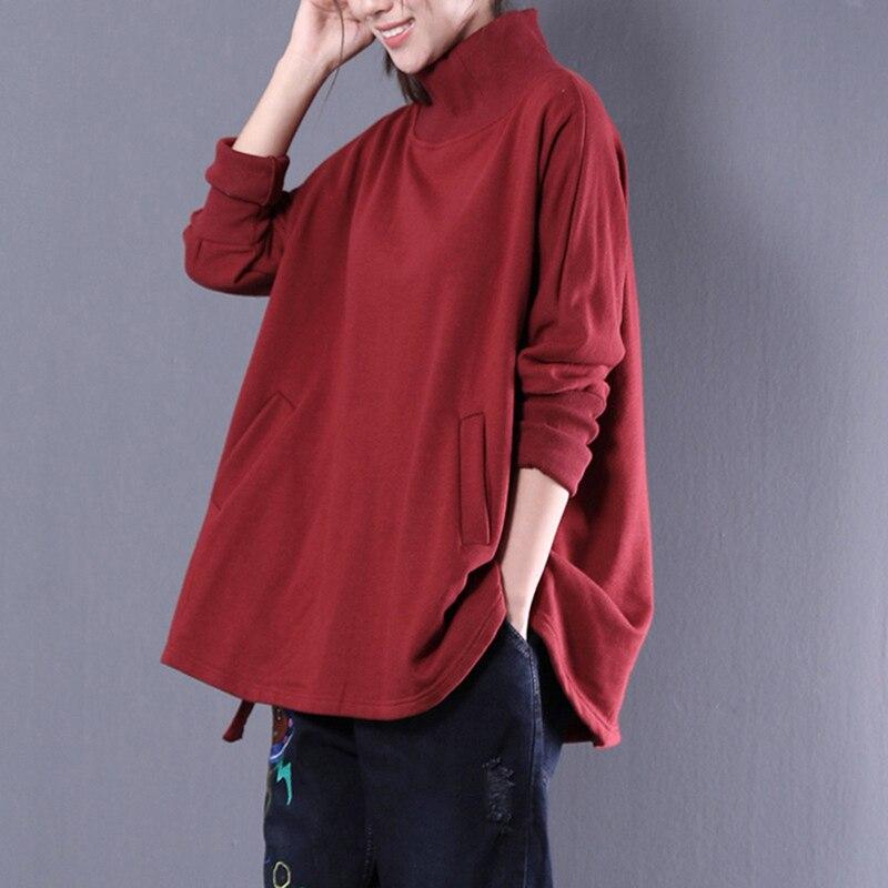 2018 automne sweat à capuche pour femme sweat à manches longues tunique poche lâche coréen blouson à capuche femme hauts col roulé taille unique