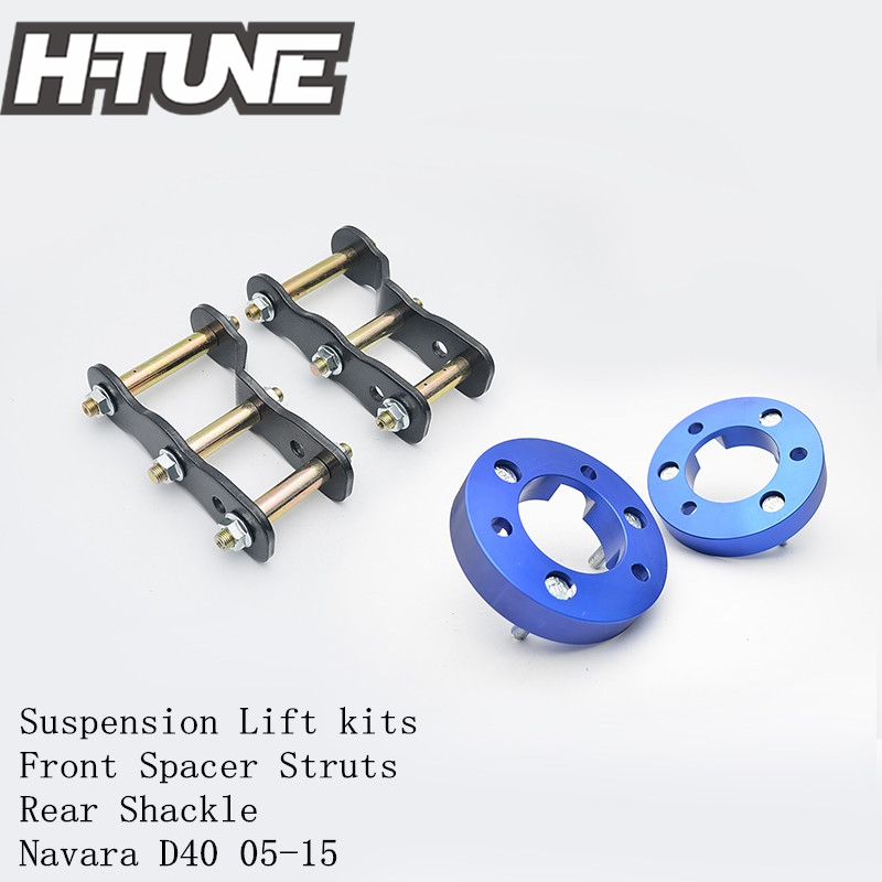 H-TUNE 4x4 Suspension Lift kits 25mm Front Strut Spacer + 2 Rear Extended Greasable Shackles Fit For NAVARA D40 05-15 h tune 4x4 accesorios 32mm front spacer and rear extended 2 inch g shackles lift up kits 4wd for triton l200 mk ml 06 14
