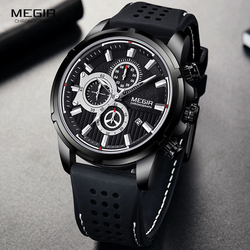 <font><b>MEGIR</b></font> Military Quartz Watches Men Top Brand Luxury Chronograph Sport Watch Relogios Masculino Silicone Wristwatch Man <font><b>2101</b></font> Black image