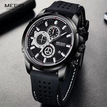 MEGIR Military Quarz Uhren Männer Top Marke Luxus Chronograph Sport Uhr Relogios Masculino Silikon Armbanduhr Mann 2101 Schwarz