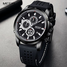MEGIR 밀리터리 쿼츠 시계 남성 브랜드 럭셔리 크로노 그래프 스포츠 시계 Relogios Masculino 실리콘 손목 시계 남자 2101 블랙