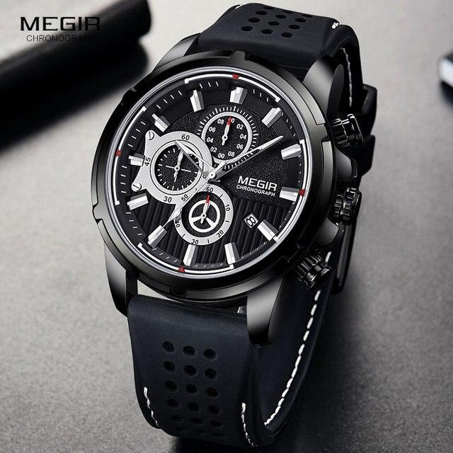 MEGIR wojskowe zegarki kwarcowe mężczyźni Top marka luksusowe Chronograph Sport zegarek Relogios Masculino silikonowy pasek zegarek na rękę człowiek 2101 czarny