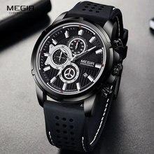 Часы MEGIR Мужские кварцевые в стиле милитари, брендовые Роскошные спортивные с хронографом, силиконовые наручные, черные, 2101