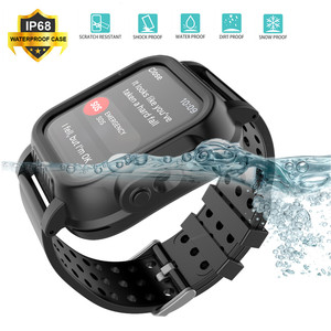 Image 2 - For Apple Watch Series 4 40MM 44MM Case IP68 Waterproof Shockproof PC Bumper Case+Rubber Watch Band Strap for iWatch 3 38 42MM