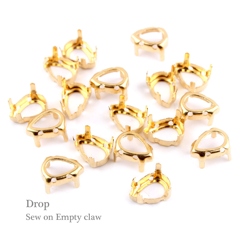 Sew on Empty Claw Drop water Gold/