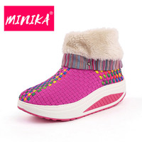 MINIKA Fashion 2017 Winter Shoes Women Slip On Short Plush Warm Ankle Boots Women Durable Outsole