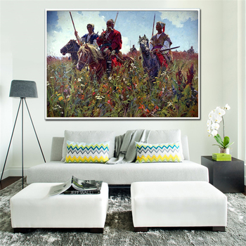 Abstract Art Creativity Field Cossacks Horse Poster Vitage Wall Art Retro Canvas Painting Scandinavian Decoration Home Picture image