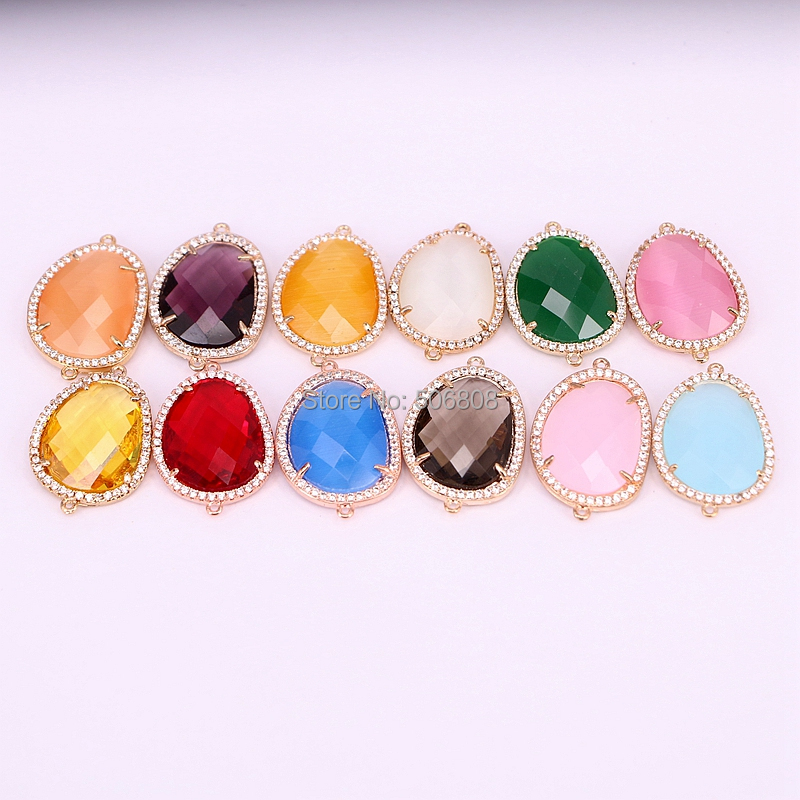 20 pièces Zyunz coupe perles de connecteur en pierre à facettes, Micro Pave CZ cristal pierre perles breloque pour la fabrication de bijoux-in Perles from Bijoux et Accessoires    3