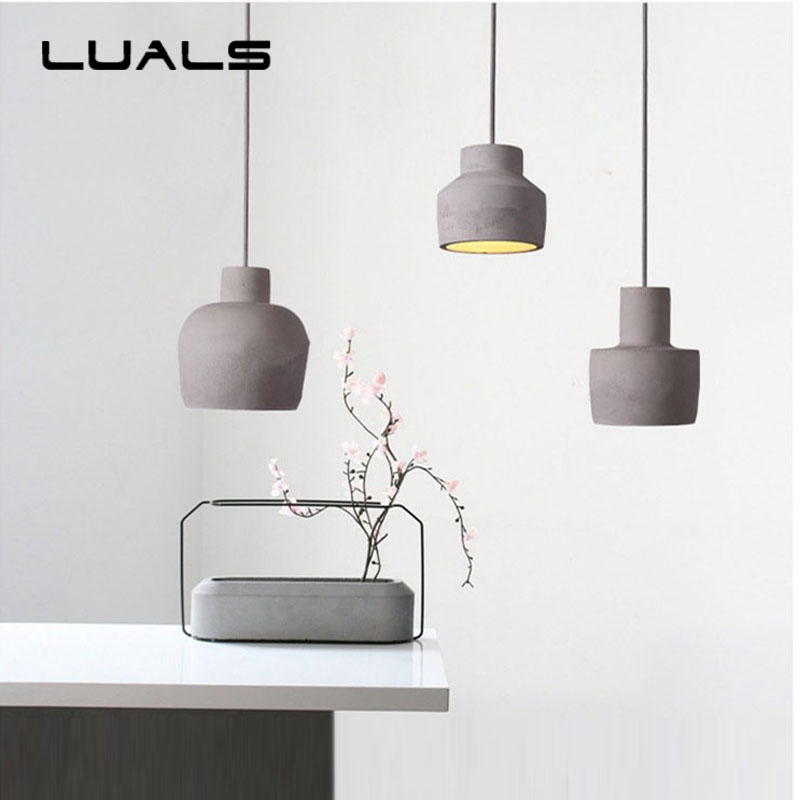Loft Style Vintage Cement Pendant Lamp Nordic Creative Suspension Luminaire For Coffee Bar Edison Pendant Light Indoor Lighting eiceo nordic ancient art cement resin creative pendant lamp minimalist retro cement lampshade for indoor cafe bars decor light