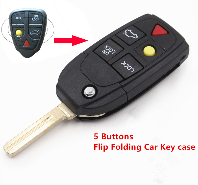 Keyecu 5 Knoppen Flip Folding Autosleutel Shell Vervanging Voor Volvo XC70 XC90 V50 V70 S60 Autosleutel Geval Remote auto Cover Geen Chip