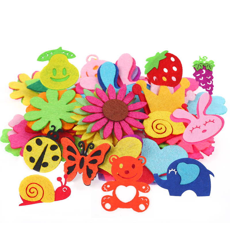 Creative Non-woven Patch Children Handmade Puzzle Materials Petal Animal Pattern Kids Patches Sewing Craft Supplies DIY Sticker