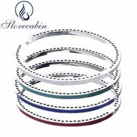 Slovecabin Original 925 Silver Radiant Hearts Bracelets Bangles Female With Enamel Charms Bracelets For Women Silver