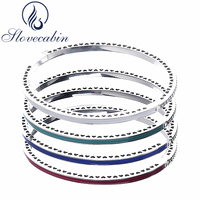 Slovecabin Original 925 Silver Radiant Hearts Bracelets Bangles Female With Enamel Charms Bracelets For Women Silver 925 Jewelry