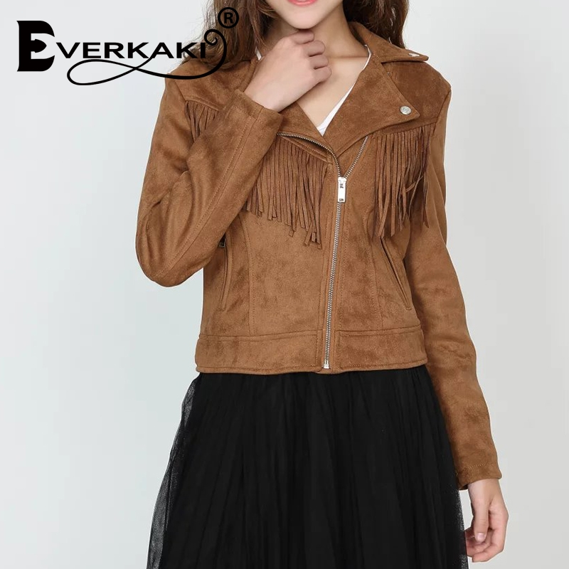 Everkaki 2019 Spring Autumn Suede New Jacket Fashion Women Bomber Warm Jacket Women Casual Street Fashion Jeans Jacket