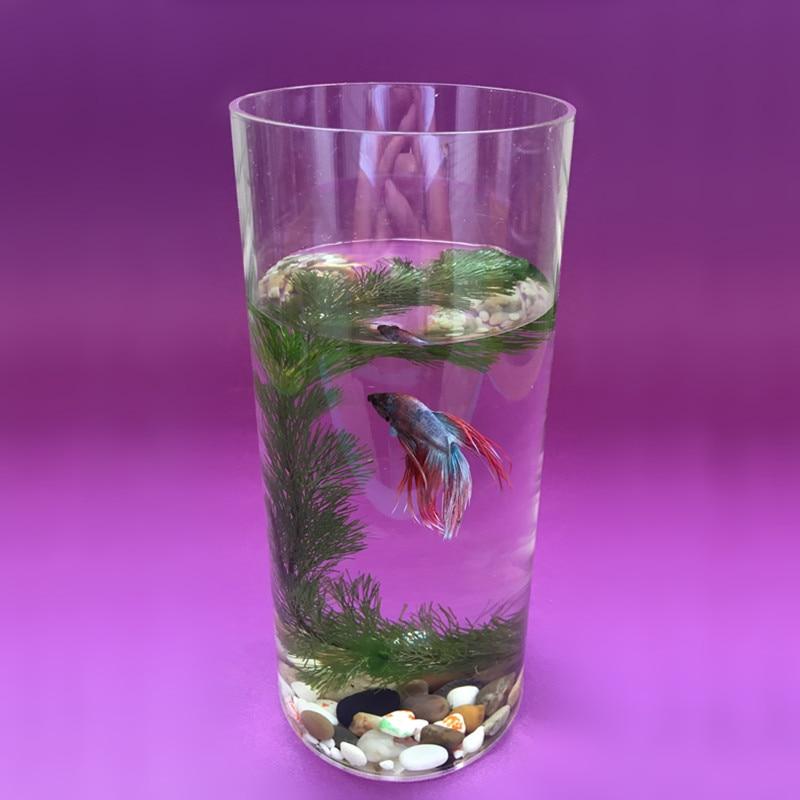 Aquarium Tank Acrylic Mini Fish Bowls Home Office Decor Desk Aquatic  Supplies Plexiglass Cylindrical Pet Akvaryum