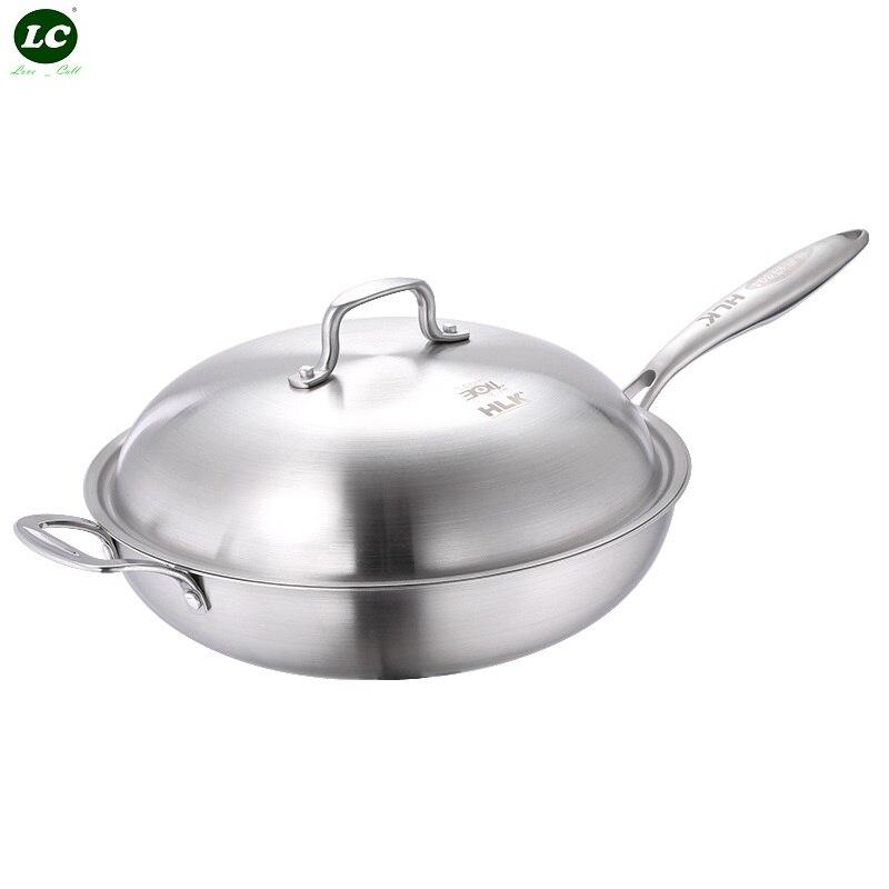 7 ply Inox Cooking Pan SUS#18/10 Frying pot stainless steel Non stick Pan No fume Pan Cooker Frying Wok Luxury 32cm