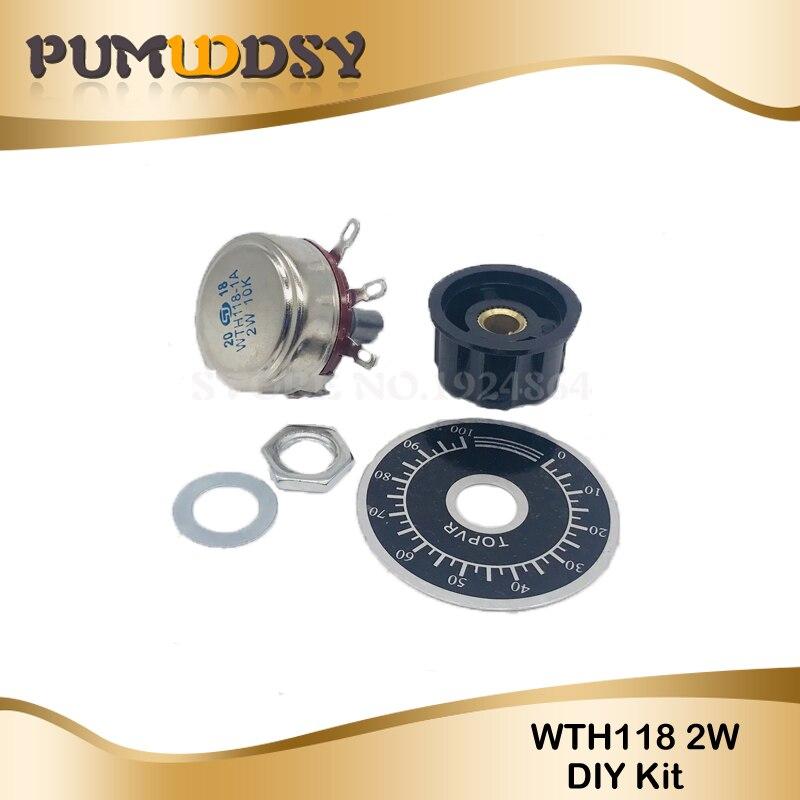 TWTADE 2pcs Single Turn Rotary Carbon Linear Variable Potentiometer 2pcs Knob ,WTH118-2W 1K Ohm