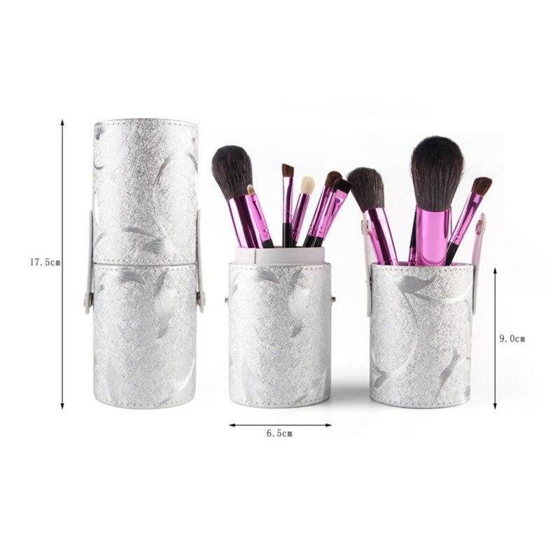 Empty Cosmetic Case PU Leather Makeup Brush Barrel Portable Storage Makeup Bags Organizer Brush Holder Cup empty cosmetic case pu leather makeup