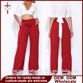 Mujeres Pantalón de Pierna Ancha Floja Mujeres de Talle Alto Pantalones Damas Pantalones de Cordón Rojo Ropa de Otoño