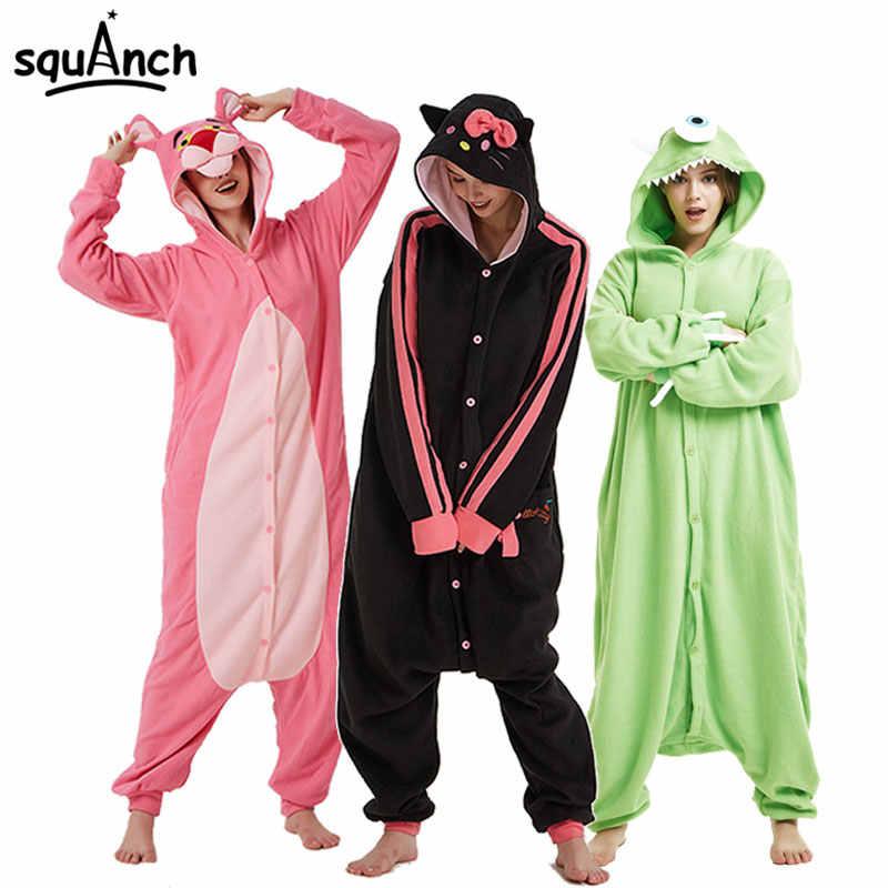 7602d6538 Cartoon Animals Onesies Polar Fleece Kigurumi Women Men Couple Funny Pajama  Adult 28 Models Festival Party