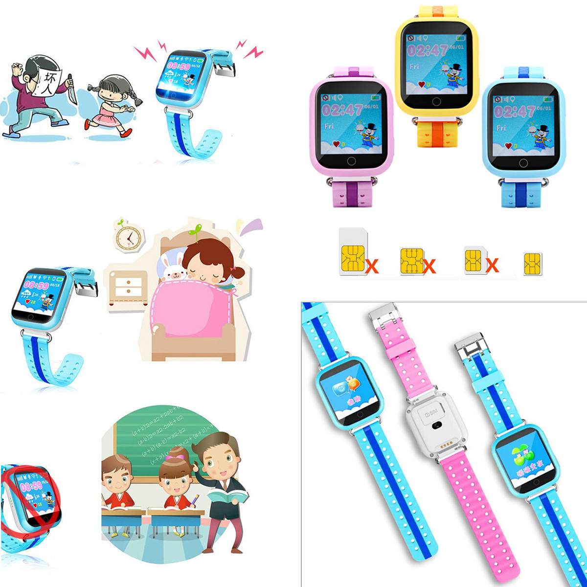 Enfants montre connectée Q750 IPS Coloré écran tactile GPS surveillance À Distance Podomètre D'apprentissage 2G SIM carte Pour Android IOS