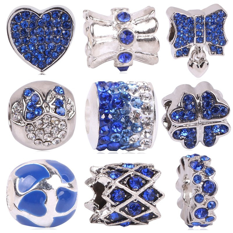 AIFEILI New Arrival Silver Color Eye Of Evil Charm Bead With Blue CZ Fit Original Pandora Bracelet Fashion Jewelry Gift