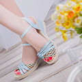 Shoes woman ankle strap luxury women shoes rubber solid fashion sexy high heels sandals women wedges peep toe chaussure femme