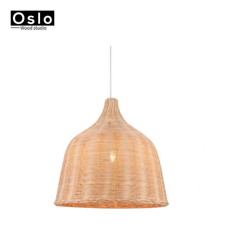 Ручной ротанговый подвесной светильник, в японском стиле, E27 для ресторана спальня деревенский ротанга искусство lampadario промышленный лампов suspendues