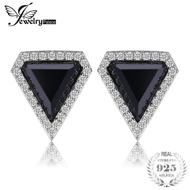 Jewelrypalace Fashion 4 8ct Created Black Spinel Stud Earrings For Women 100 925 Sterling Silver