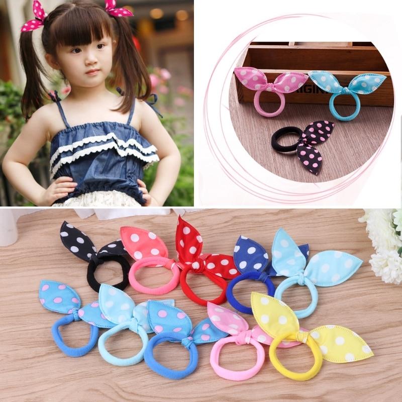 10Pcs 2017 Cute Lovely Girl Rabbit Ears Elastic Bands Polka Dot Hair Tie Ponytail Holder Clothes Hair Accessories Bow Headwear