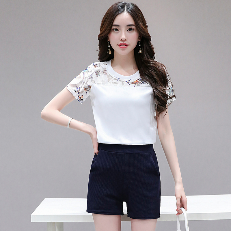 Women's   Blouse   2018 Summer Sexy Casual Short Sleeve Lace   Shirts   Women Patchwork   Blouse     Shirt   Tops Party Girls Blusas Femininas