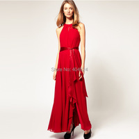Wholesale Women Elegant Chiffon Ruffle Neck Sleeveless Evening Party Ball Gown Long Dress