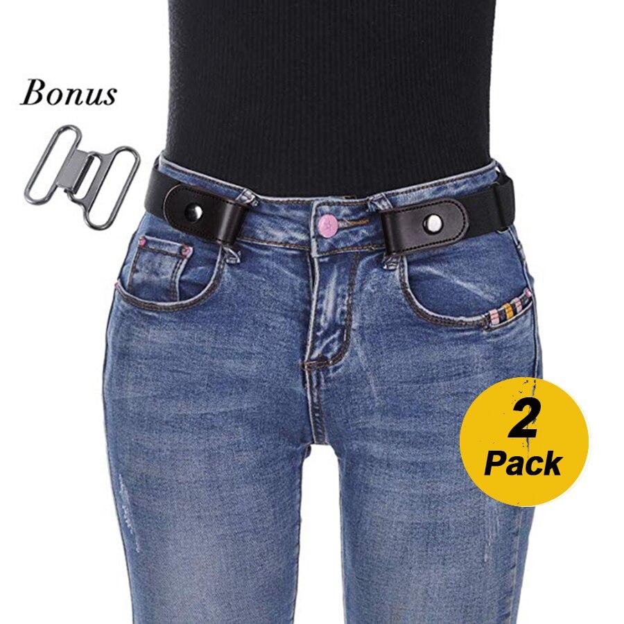 AWAYTR 2 piezas hebilla de correa de las mujeres de moda de los hombres correa de cuero negro para hombres Unisex elástico sin hebilla de cinturón de cintura para los pantalones vaqueros