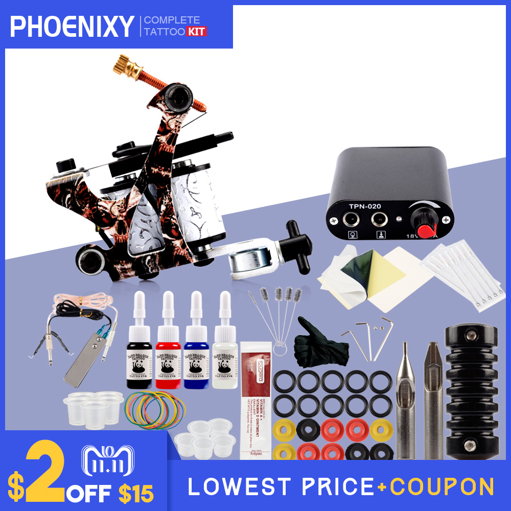 Tattoo Kit 4 Colors Tattoo Ink Sets Machines Set Black Power Supply Needles Permanent Make Up Professional Tattoo Kit Set tattoo kit completed permanent makeup 2 machines set professional tattoo machine set 10 colors tattoo ink sets permanent make up