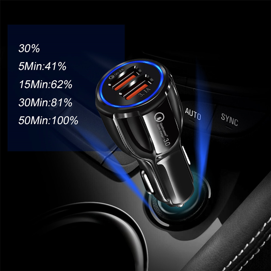HTB1x3wRXzDuK1RjSszdq6xGLpXai - Olaf Car USB Charger Quick Charge 3.0 2.0 Mobile Phone Charger 2 Port USB Fast Car Charger for iPhone Samsung Tablet Car-Charger