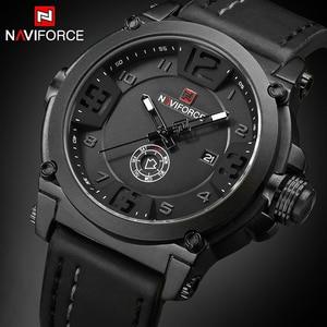 Image 1 - NAVIFORCE 탑 럭셔리 브랜드 남자 스포츠 밀리터리 쿼츠 시계 남자 아날로그 날짜 시계 가죽 스트랩 손목 시계 Relogio Masculino