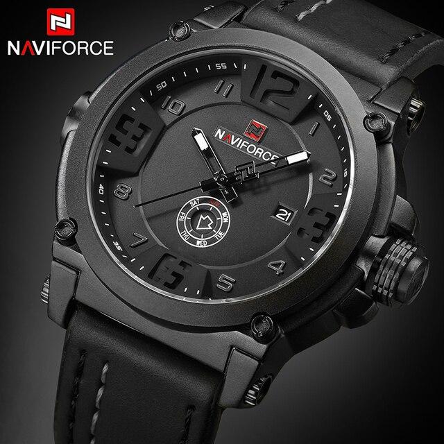 NAVIFORCE 탑 럭셔리 브랜드 남자 스포츠 밀리터리 쿼츠 시계 남자 아날로그 날짜 시계 가죽 스트랩 손목 시계 Relogio Masculino